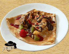 Crêpe multi fruits & coulis de fruits rouges & chocolat
